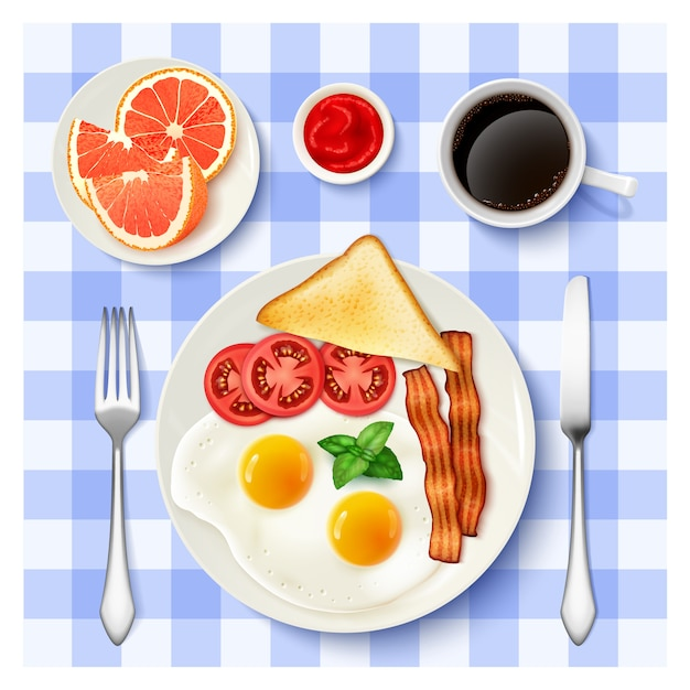 Petit Déjeuner Américain Complet Vue De Dessus Image Vecteur gratuit
