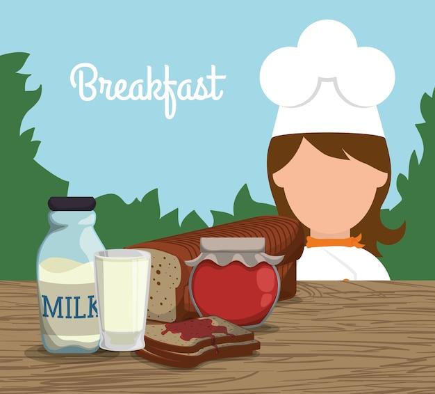 Petit déjeuner fille chef lait confiture toast paysage Vecteur Premium