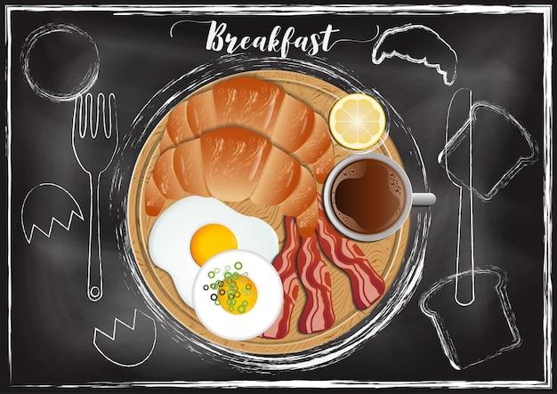 Petit déjeuner avec fond de tableau à la main dessiner style Vecteur Premium