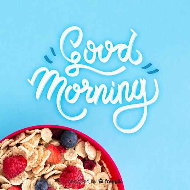 Petit-déjeuner lettrage de fond avec photo Vecteur gratuit