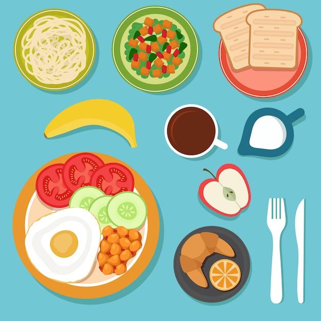 Petit déjeuner manger de la nourriture et des boissons sur la vue de dessus de table Vecteur Premium
