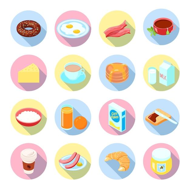 Petit Déjeuner Plats Et Boissons Plats Icônes Sertie De Jus De Thé Bacon Bouillie De Café En Cercles Isolé Illustration Vectorielle Vecteur Premium