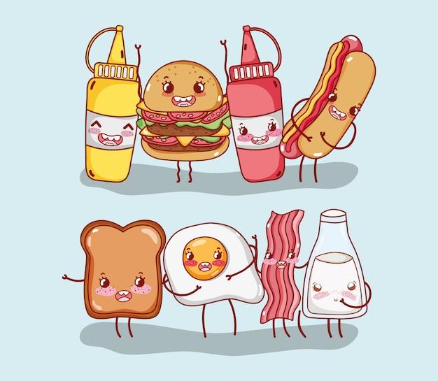 Petit-déjeuner Et Restauration Rapide Mignon Burger Hot-dog Pain Oeuf Bacon Lait Personnage De Dessin Animé Vecteur Premium
