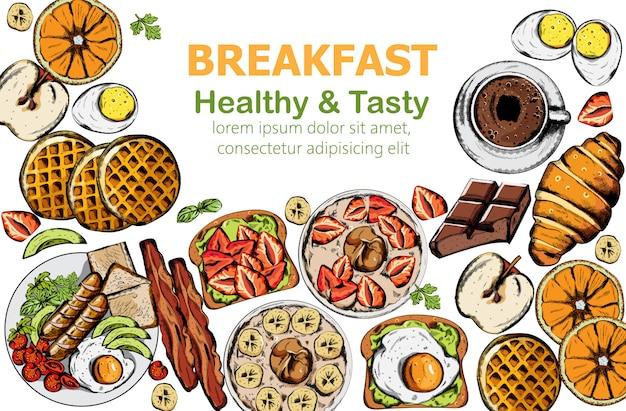 Petit-déjeuner Sain Et Savoureux Avec Plusieurs Aliments Et Boissons Vecteur gratuit