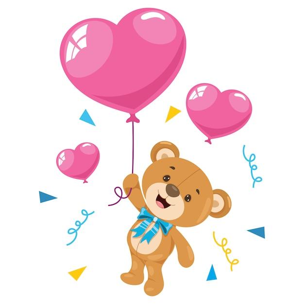 Petit dessin animé drôle d'ours en peluche Vecteur Premium