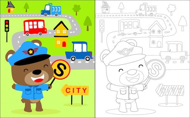 Petit dessin animé de flic trafic Vecteur Premium