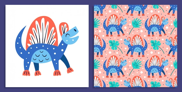 Petit Dinosaure Bleu Mignon. Animaux Préhistoriques. Monde Jurassique. Paléontologie. Reptile. Archéologie. Illustration Plate Colorée Vecteur Premium