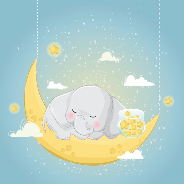 Petit éléphant dormant avec les étoiles Vecteur Premium