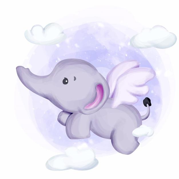 Petit éléphant Voler Dans Le Ciel Vecteur Premium