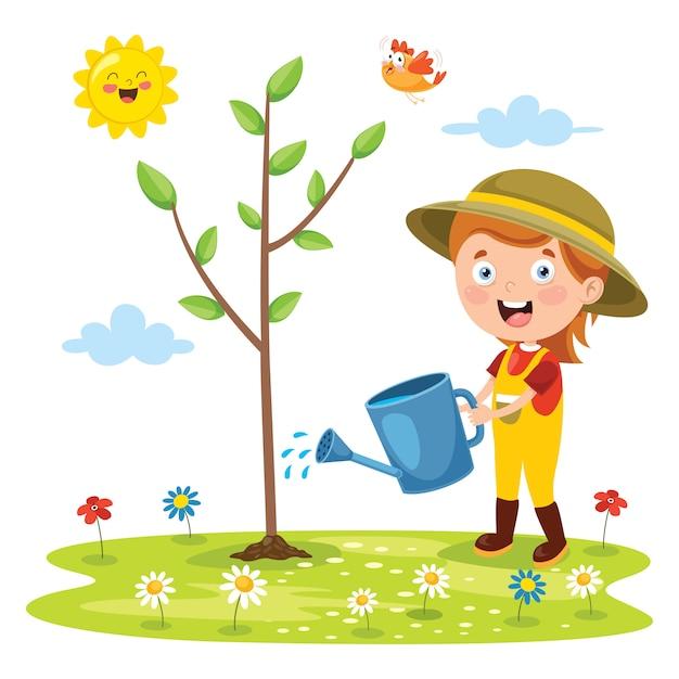 Petit Enfant Jardinage Et Plantation Vecteur Premium