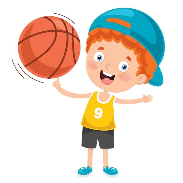 Petit Enfant Jouant Au Basketball Vecteur Premium