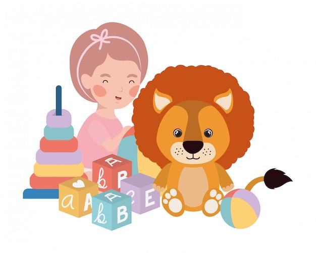 Petit enfant jouant avec un joli lion Vecteur Premium