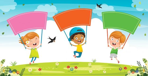 Petit Enfant Tenant Une Pancarte Colorée Vecteur Premium