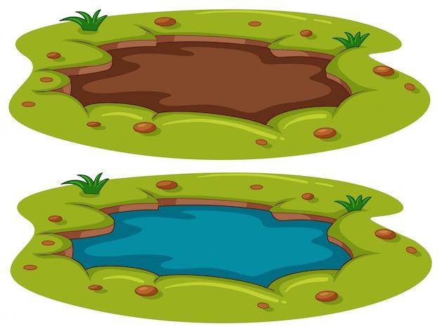 Un Petit étang Sur Fond Blanc Vecteur Premium