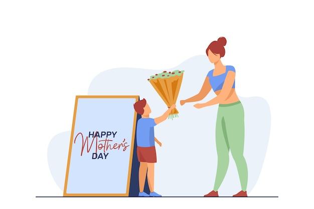 Petit Fils Donnant Des Fleurs à La Jeune Mère. Cadeau, Parent, Illustration Vectorielle Plane Enfant. Vacances, Parentalité Et Famille Vecteur gratuit