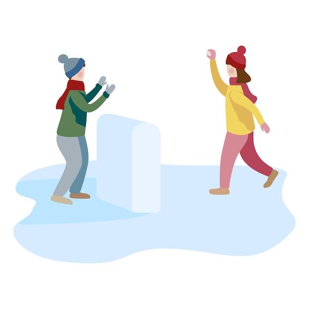 Petit garçon et fille jouant à la bataille de boules de neige et s'amuser dans la neige en hiver. Vecteur Premium