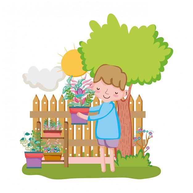 Petit garçon, levage, plante d'intérieur, à, barrière, et, arbre Vecteur Premium