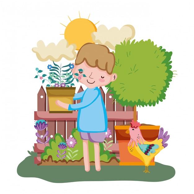 Petit garçon, levage, plante d'intérieur, à, barrière, et, coq Vecteur Premium