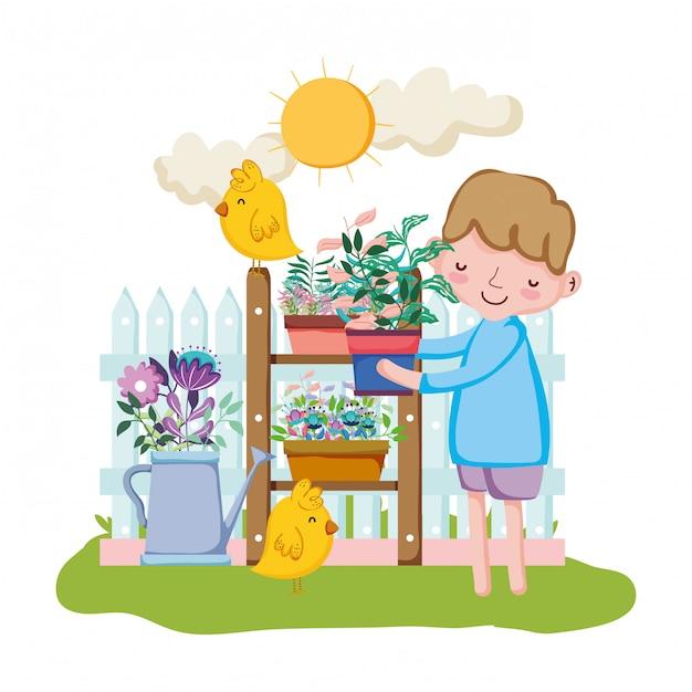 Petit garçon, levage, plante d'intérieur, à, poussin Vecteur Premium