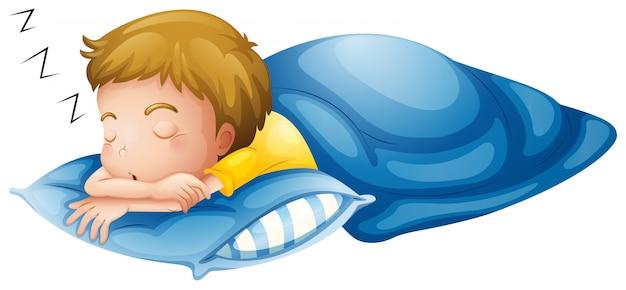 Un petit garçon qui dort Vecteur gratuit