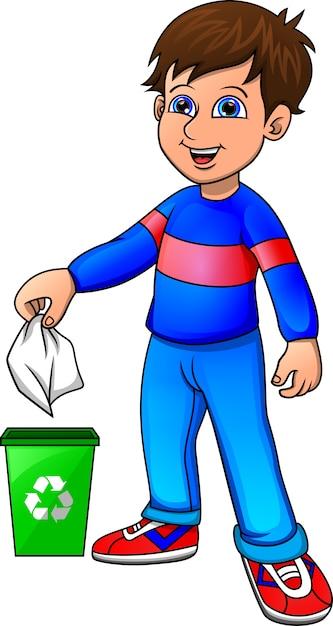Petit Garçon Recyclant Des Déchets Organiques Vecteur Premium