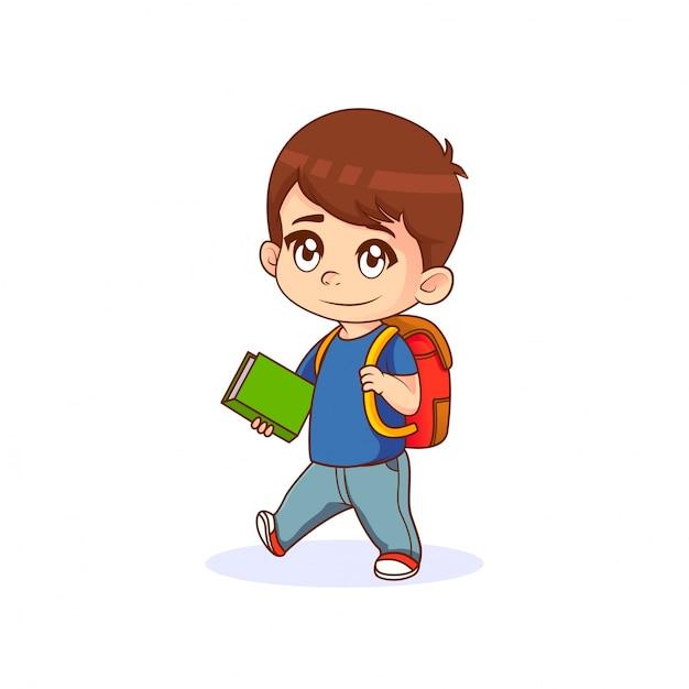 Petit Garçon Tenant Un Livre Avec Sac à Dos Illustration De
