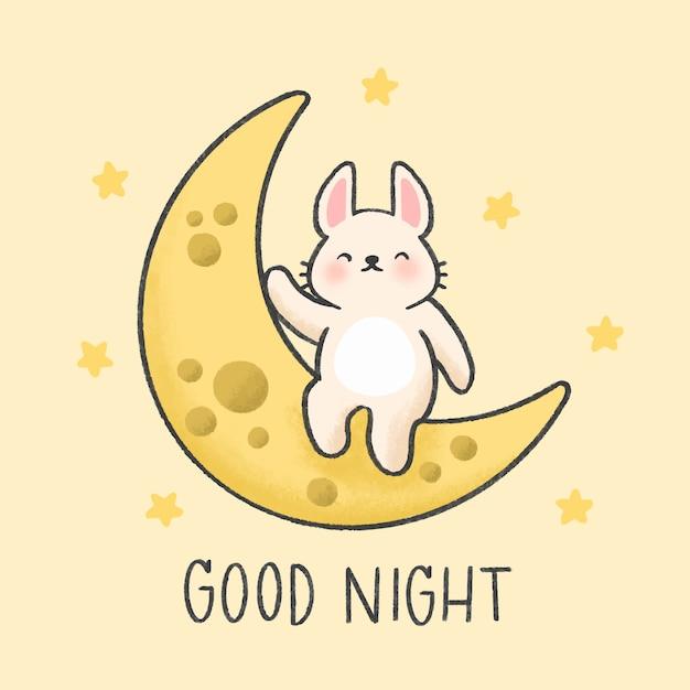 Petit lapin assis sur le style de lune dessiné à la main Vecteur Premium