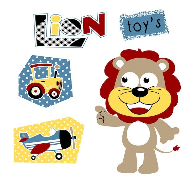 Petit lion avec ses jouets Vecteur Premium