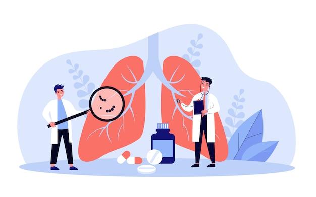 Petit Médecin Vérifiant Le Système Respiratoire Vecteur Premium