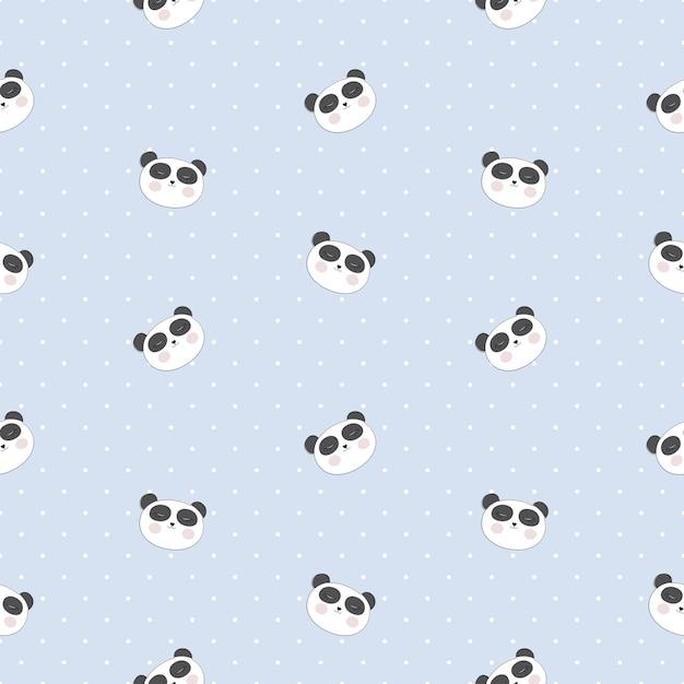 Petit Modèle Sans Couture De Panda Mignon Pour La Conception De Cartes Et De Chemises. Vecteur Premium