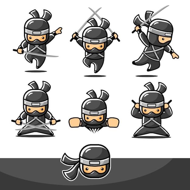 Petit Ninja Noir De Dessin Animé Serti De Mouvement De Mouche Vecteur Premium