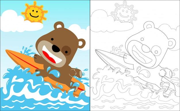 Petit ours cartoon le surfeur drôle Vecteur Premium