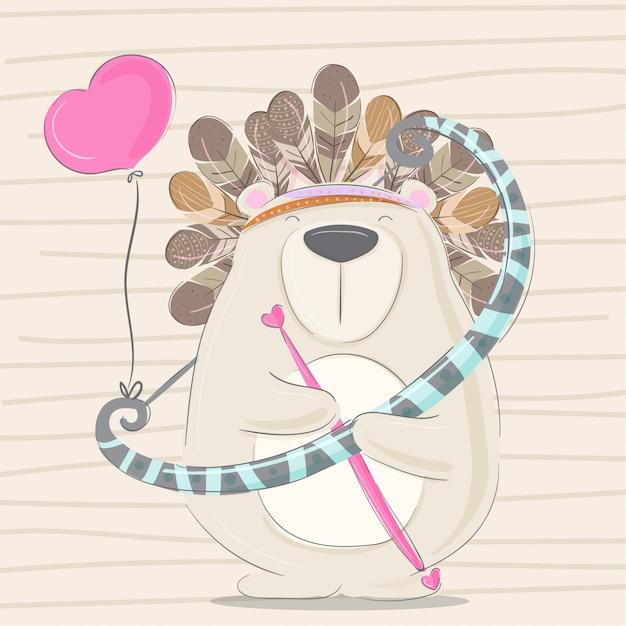 Petit ours main dessinée illustration animale-vecteur Vecteur Premium