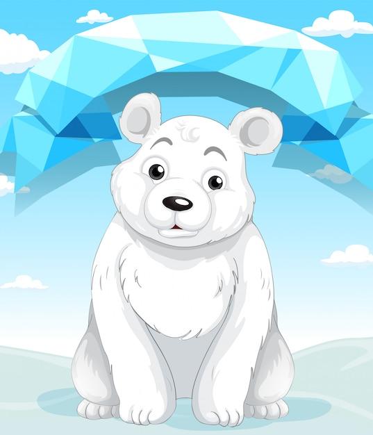 Petit ours polaire assis sur la glace Vecteur gratuit
