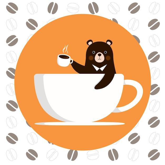 Petit ours profiter d'une tasse de café Vecteur Premium