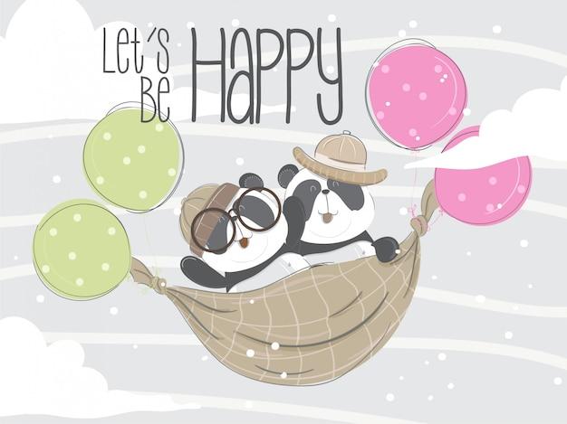 Petit panda volant main dessinée illustration-vecteur Vecteur Premium