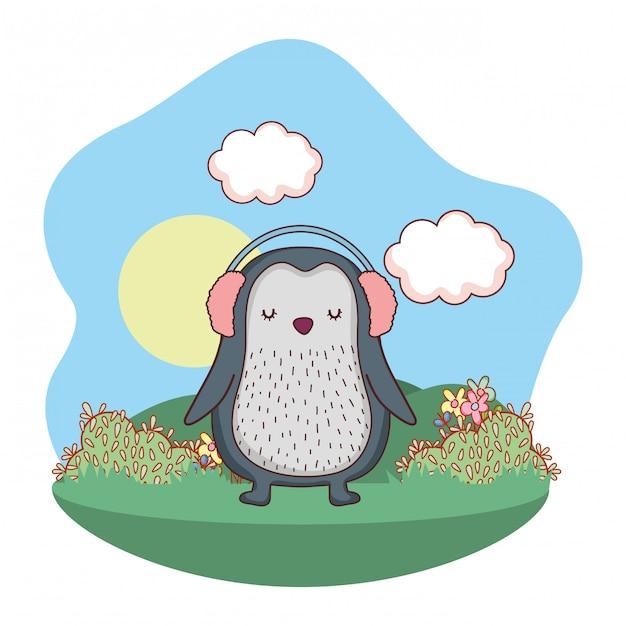 Petit pingouin mignon avec des écouteurs dans le parc Vecteur Premium