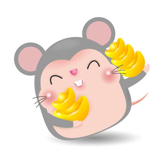 Petit rat avec holding or chinois, joyeux nouvel an chinois 2020 du zodiaque de rat, illustration de vecteur de dessin animé isolé Vecteur Premium