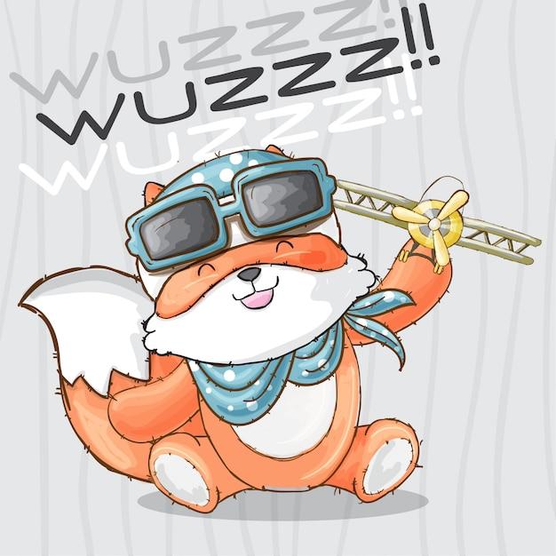 Petit renard avec animal jouet dessiné main Vecteur Premium