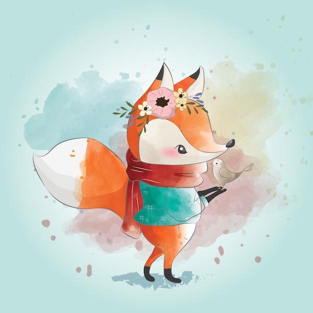 Petit renard et son ami Vecteur Premium