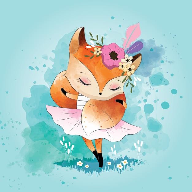 Petit renard avec son foulard Vecteur Premium