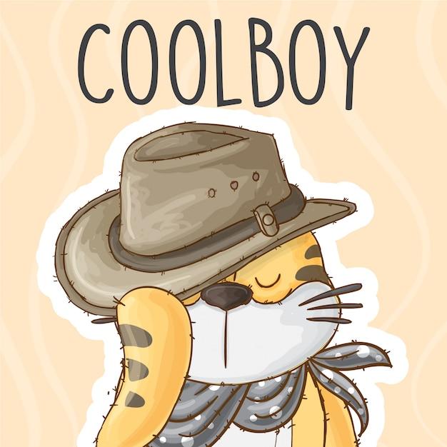 Petit Tigre Avec Chapeau De Cowboy - Vecteur Vecteur Premium