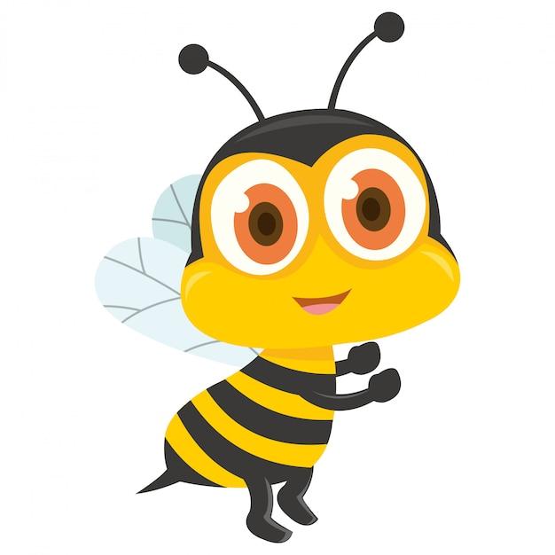 Petite abeille sur fond blanc Vecteur Premium