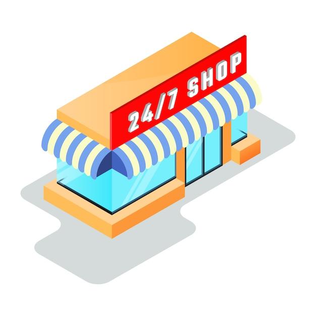 Petite Boutique, Supérette Avec Magasin Vecteur Premium