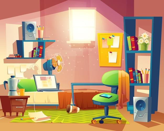 Petite chambre avec mess, chambre de dessin animé, dortoir avec ...