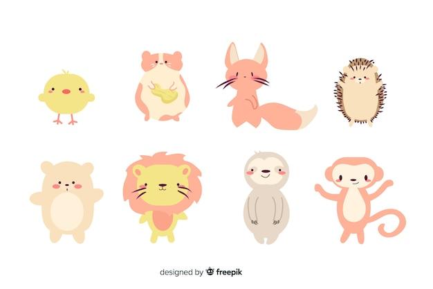 Petite collection d'animaux mignons de dessin animé Vecteur gratuit