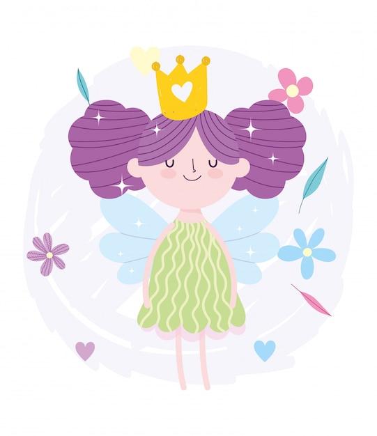 Petite Fee Princesse Cheveux Chignon Avec Dessin Anime De Conte De Couronne Et De Fleurs Vecteur Premium