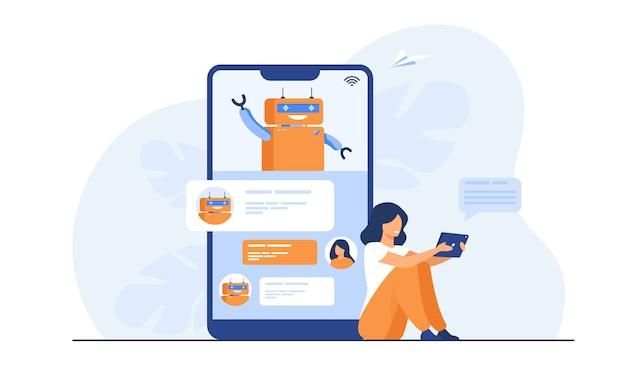 Petite Femme à L'aide D'un Assistant Mobile Avec Chatbot Vecteur gratuit