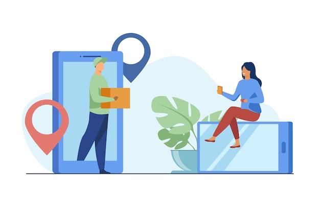 Petite femme, commande de colis en ligne via smartphone. boîte, internet, illustration vectorielle plane client. service de livraison et technologie numérique Vecteur gratuit
