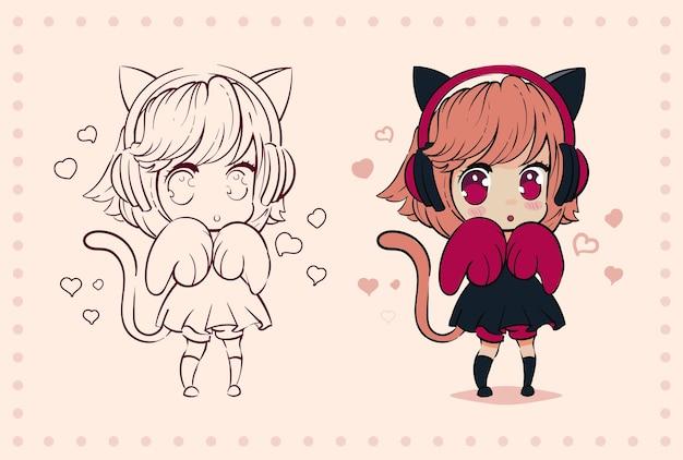 Petite Fille Anime Kawaii Avec Des Oreilles De Chat Et Des Pattes Vecteur Premium